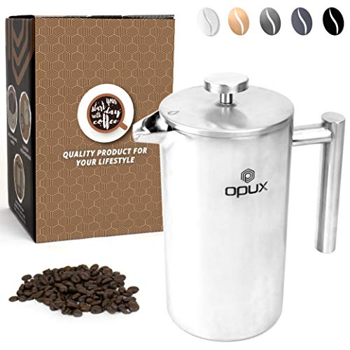 OPUX Premium Insulated Double Wall French Press | 4 Cup Stainless Steel Coffee Press with 4 Layer Filtration System for Pour Over, Espresso | (34 fl oz) (Stainless Steel)