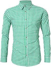 KoJooin Trachten Herren Hemd Trachtenhemd Langarmhemd Freizeithemd Baumwolle - für Oktoberfest, Business, Freizeit (2XL, Blau1)