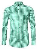 #9: GloryStar Men's Casual Slim Fit Plaid Shirt Button Down Dress Shirts for German Bavarian Oktoberfest and Lederhosen