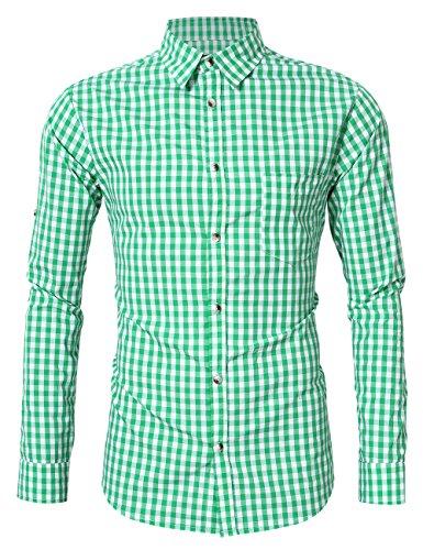 GloryStar - Camisa de Manga Corta para Hombre, Estilo Casual, Ajustada, con botón, para Oktoberfest y Lederhosen, Azul...