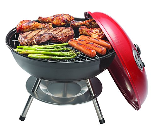 Ovente GQR0400BR 13.4 inch Portable Charcoal Grill with Dual-Venting System, Enamel-COA, Brushed by Ovente