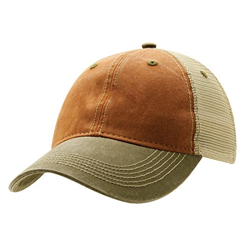 Ouray Sportswear Legend Vintage Wash Trucker Cap, Rust/Khaki/Bark, Adjustable