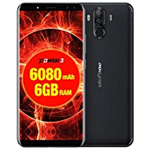 Ulefone Power 3 Cell Phone 6.0 inch 18:9 FHD P23 Octa Core 6GB RAM 64GB ROM Smartphone 21MP Quad Camera Face ID 4G Mobile Phone (Black)