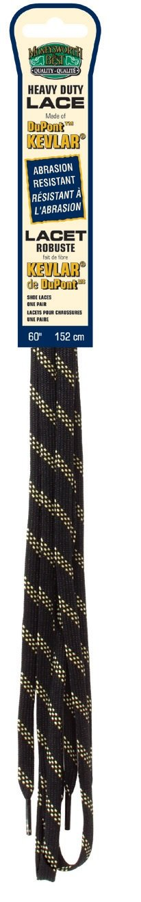 Moneysworth and Best Kevlar Round Shoe Lace 60-Inch Black//Yellow