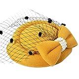 yanbirdfx Vintage Solid Color Mesh Faux Pearl Women Fascinator Hair Clip Party Derby Hat - Yellow