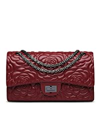 Ainifeel Women's Quilted Flower Genuine Leather Shoulder Bag with Chain Strap Purse (Large, Claret)