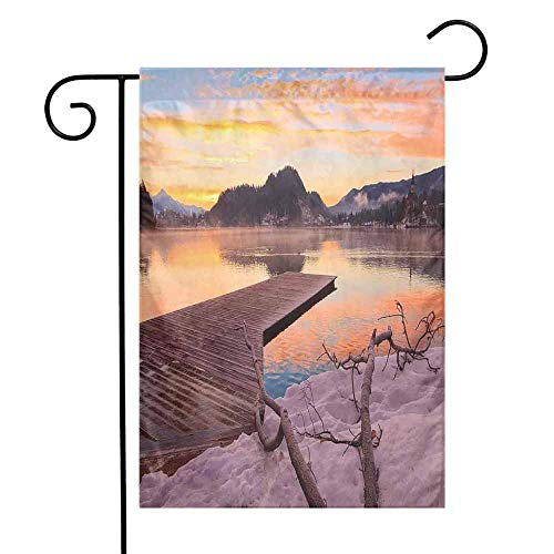 Mannwarehouse Seascape Garden Flag Bled Lake Sand Hills Branches Waterscape Sun Rays Sunrise Morning View Premium Material W12 x L18 Orange Umber Lilac