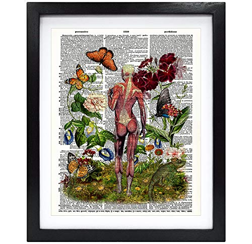 Susie Arts 8X10 Unframed Skeleton Muscle Woman with Chameleon You are Beautiful Gift Feminist Art Anatomical Art Friend Gift Upcycled Vintage Dictionary Art Print Book Art Print V187