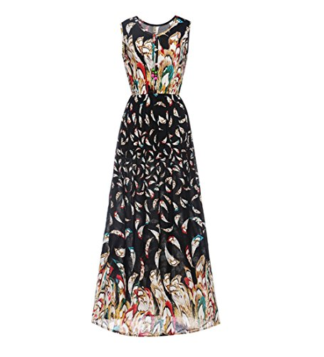 Feather Dress Maxi (Women's Summer Casual Boho Floral Print Beach Long Maxi Dress Sundress Black Feather 2XL)