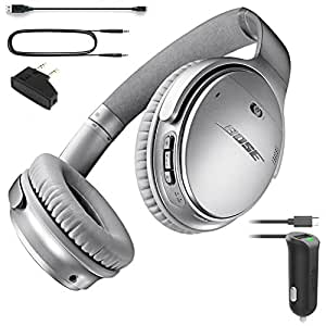 Bose QuietComfort 35 (Series I) Bluetooth Wireless Noise Cancelling Headphones - Silver & Car Charger - Bundle