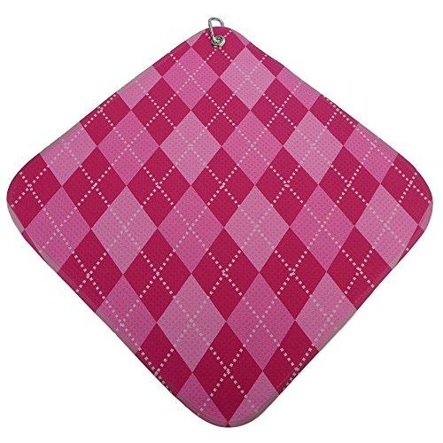 Argyle Golf Towel - Pink-Hot-Pink Argyle Print Microfiber Golf Towel by BeeJos