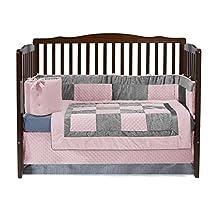 BabyDoll 8100C4 Croco Minky Crib Set, Pink/Grey