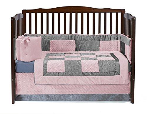Baby Doll Bedding Croco Minky Crib Set, Pink/Grey ()