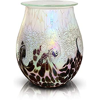 PUSEAYZ Scented Wax Warmer Art Glass Electric Wax Burner Candle Melter Night Light for Gifts&Decor, Home, Office, Bedroom Living Room(White)
