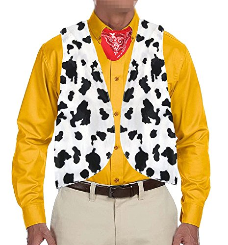 Karlywindow Men's Cow Open Festival Front Vintage Hippie Costume Vest -