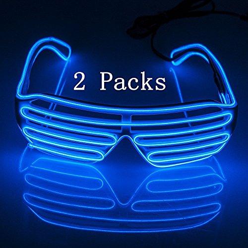 ZYJ-AWASA 2 Packs Shutter EL Wire Neon Glasses LED Eye glasses Light Up Glasses Christmas Costumes Black Frame Light Up Shutter Glasses + Standard Controller For Christmas Party Festivel