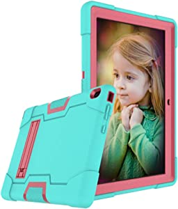 Cherrry for Lenovo Tab E10 (TB-X104F) Case,Heavy Duty Shockproof Hybrid Rugged Hard Armor Full Body Protective Case (Built-in Stand) for Lenovo Tablet 2018 Tab E 10 10.1 Inch Case (Green/Pink)