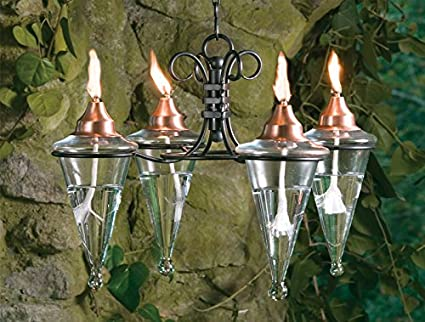 H Potter Hanging Patio Outdoor Torches Chandelier