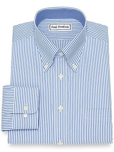 Paul Fredrick Men's Non-Iron Cotton Bengal Stripe Dress Shirt French Blue 17.0/35