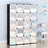Honey Home Wardrobes Closet, Portable Closets Bedroom, Plastic DIY Modular Cabinet Shelving Storage Organizer Easy Closed Doors - 20 Black & White Cubes