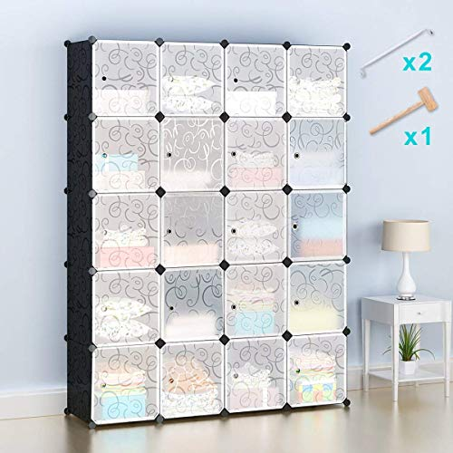 Honey Home Wardrobes Closet, Portable Closets Bedroom, Plastic DIY Modular Cabinet Shelving Storage Organizer Easy Closed Doors - 20 Black & White Cubes by Honey Home