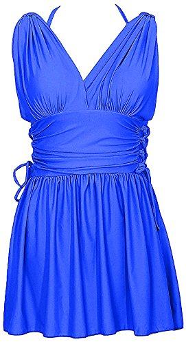 HENGJIA Women's Shaping Body Swimwear Two Piece Swimdress Elegant Skirted Swimsuit Sapphire Blue - Lady Suit Bathing Gaga