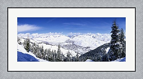 Great Art Now Ski Slopes in Sun Valley, Idaho by Panoramic Images Framed Art Print Wall Picture, Flat Silver Frame, 35 x 19 inches