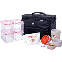 Fitmark Box Large Midnight Meal Prep Insulated Bag with BPA Free Portion Control Meal Containers, Reusable Ice Packs