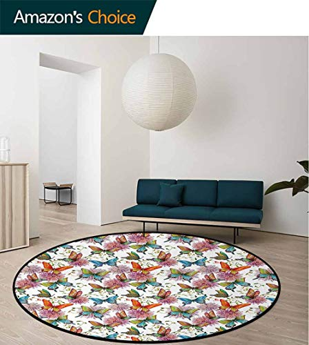 Butterfly Non-Slip Area Rug Pad Round,Flying Butterflies With Floral Elements Vivid Color Palette Wildflowers Retro Protect Floors While Securing Rug Making Vacuuming Round-63 Inch,Multicolor