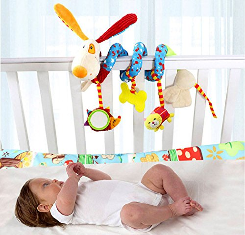 SKK Baby Soft Stroller Car Seat Activity Toy with Rattle Teether Mirror Puppy by SKK BABY (Image #1)