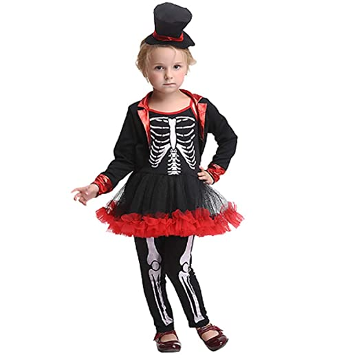 GHLLSAL niña Halloween Esqueleto de Miedo de Hueso Esqueleto ...