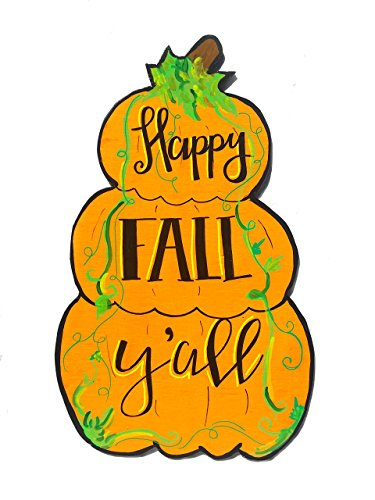 Happy Fall Y'all Pumpkin Yard Art. 24 inch tall Autumn Wooden -