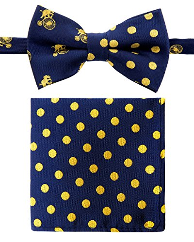 Canacana Elephants Ride Bicycle Woven Microfiber Pre-tied Boy's Bow Tie with Polka Dots Pocket Square Gift Box Set - Navy Blue with Yellow - 4 - 7 years, Christmas gift - Navy Plaid Suit