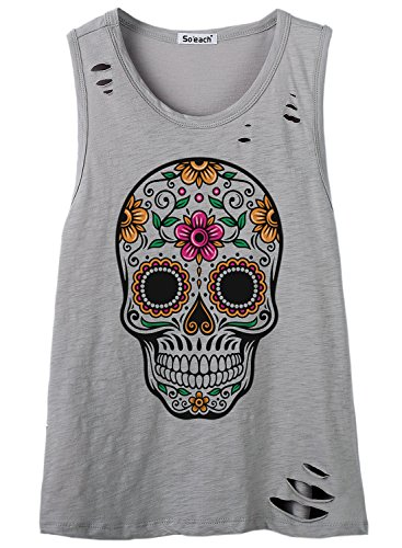 So'each Women's Floral Skull Graphic Hole Tee T-Shirt Cami Tank Top