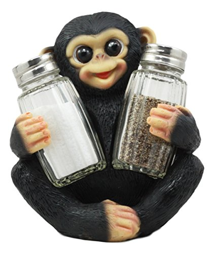 Ebros Young Caesar Baby Chimpanzee Glass Salt and Pepper Shakers Holder Figurine Set Wildlife Tropical Rainforest Monkey Sculpture
