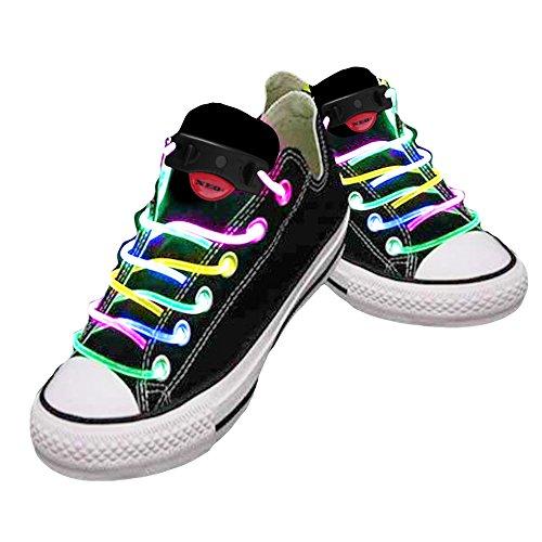 Cordones impermeables para zapatos con LED, color, talla Talla única