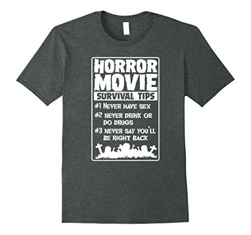 Mens Horror Movie Survival Tips Funny T-Shirt for Men Women Kids XL Dark (Funny Tips For Halloween)