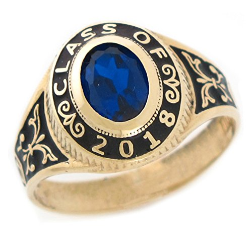 10k Gold Simulated September Birthstone 2018 Graduation Girl Ring by Jewelry Liquidation