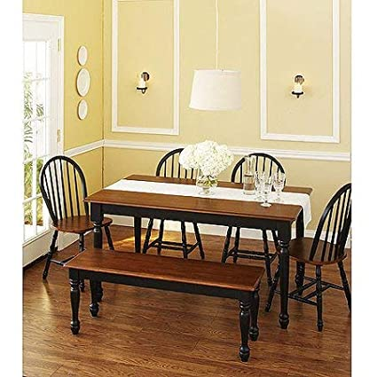 MegaDeal- Wooden Dining and Breakfast Table, Chair and Bench Set, Furniture (Black and Oak, 6 Piece)