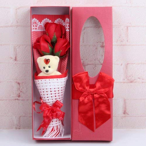 Soft Plush Cute Teddy Rose Bear Bouquet Bath Soap Flower 3 Scented Roses Gift Box Best Perfect Unique Gift Ideas for Valentine Birthday Mother's Father's Day Couple's Anniversary For Her Men (Red)
