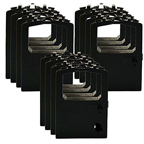 12 Pack Okidata Compatible Black Ribbons 52102001 52104001 for MicroLine ML 120 180 182 184 186 192 240 320 320 380 390 420 OkiPOS Series 50 (182 Series)