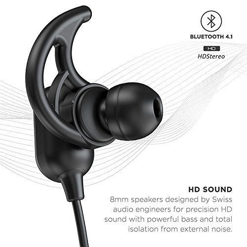 Phaiser BHS-760 Bluetooth Headphones, Magnetic Wireless Sport Headset for Running, Sweatproof Cordless Earphones with Mic for Working Out, Comfortable Wireless Earbuds for Exercise, Blackout