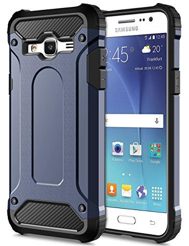 Shockproof Hybrid Case for Samsung Galaxy J5 (Black/Blue) - 9