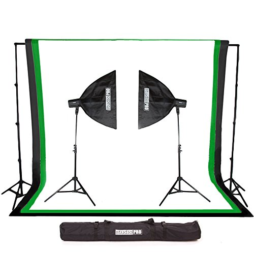 """StudioPRO 320W/s Double Photography Video Strobe Monolight Professional Studio Lighting Kit includes (2) 7'6"""" Light Stands (2) SP-120-160 Watt Flash Head (2) 20""""x28"""" Rectangle Softbox (1) 10'x20' White Muslin Backdrop with Background Support System (Padded Case Included)- SPK20-002C-LW"""