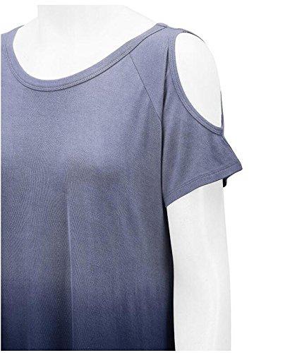 LemonGirl Women's Off Shoulder Irregular Hem T-Shirt Blouse Tops Navy