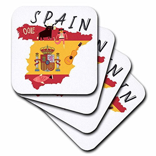 3dRose TNMGraphics Countries - Map of Spain With Flag and Icons - set of 8 Coasters - Soft (cst_286294_2) by 3dRose