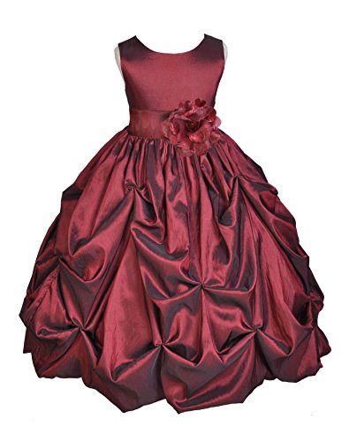 Wedding Pageant Holiday Burgundy Bubble Pick-up Taffeta Flower Girl Dress 301s 4 (Red Bubble Taffeta)