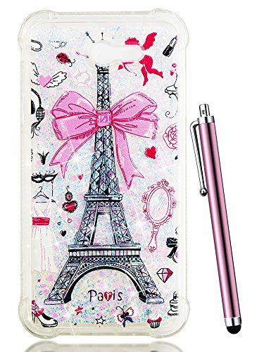 Galaxy J7 V Case 2017,Galaxy J7 Perx Case for Women,CAIYUNL Glitter Bling Sparkly Liquid Cute Shockproof Clear Phone Cases Protective Slim TPU Cover for Samsung Sky Pro/J7 Prime&Stylus-Pink iron Tower ()