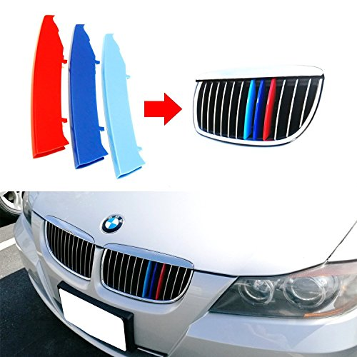 Colors 2005 Bmw (lanyun BMW M Colors(red blue light blue) Grille Insert Trims Decorate For 2003-2008 E90/E91 Pre-LCI 3 Series w/12-Beam Grill)