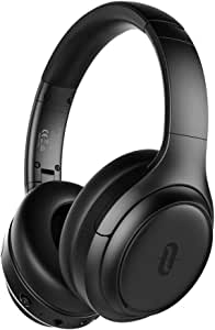 TaoTronics Active Noise Cancelling Headphones [2019 Upgrade] Bluetooth Headphones SoundSurge 60 Over Ear Headphones Sound Deep Bass, Quick Charge, 30 Hours Playtime for Travel Work TV PC Cellphone 7.68*6.42*3.15 Black